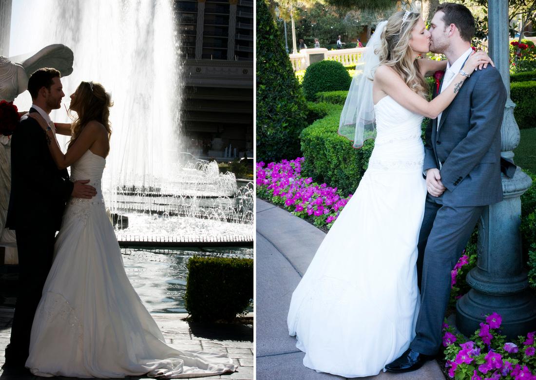 Caesars Palace - Bellagio - Fountians - Las Vegas Wedding Photos
