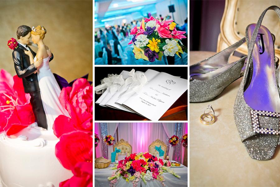 wedding details, rings, cake, flowers