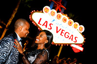 Bride and Groom photo shoots at the Las Vegas Sign. Photographer for wedding & engagement sessions in Las Vegas Nevada.