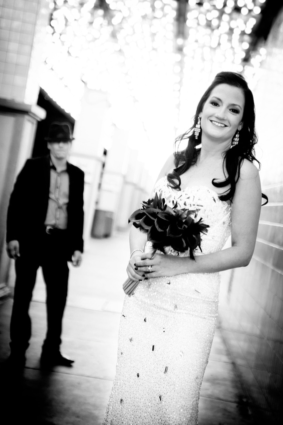 Just moments after Bon Jovi walked her down the aisle, our bride Blanka celebrates with a photo shoot on Fremont Street.