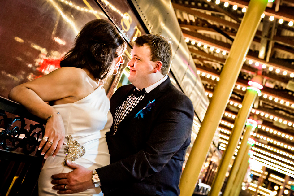 Wedding photography at the Fremont Street Experience in Downtown Las Vegas.
