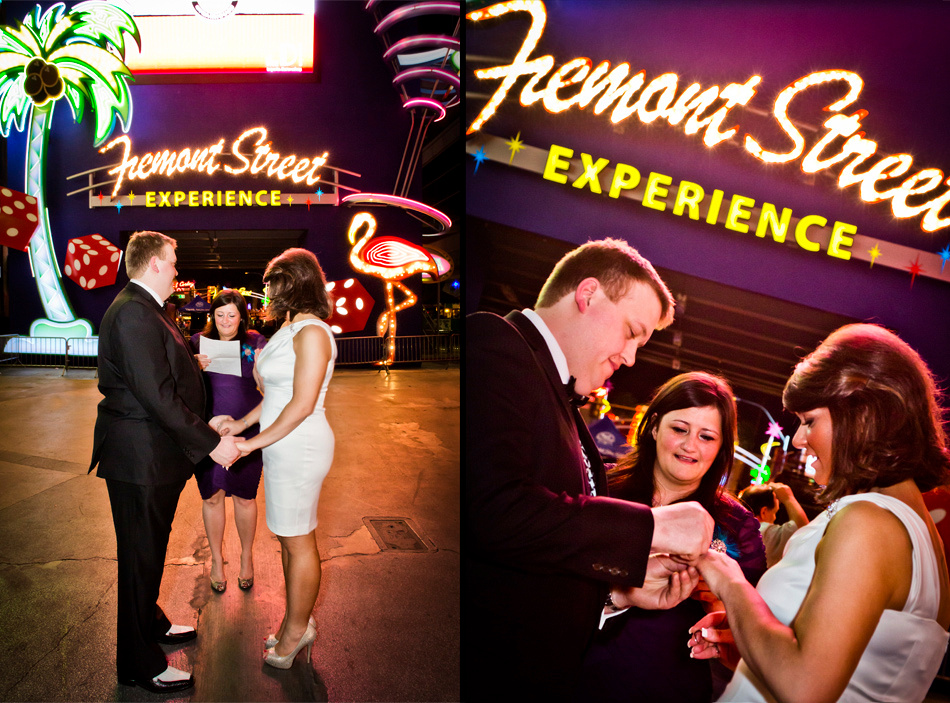 Wedding Ceremony photography at the Fremont Street Experience in Downtown Las Vegas.